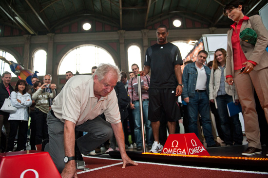 OMEGA ambassador Tyson Gay and Armin Hary at Zurich Main Station