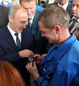 Vladimir Putin Makes a Presidential Present of Swiss Watch to a factory worker