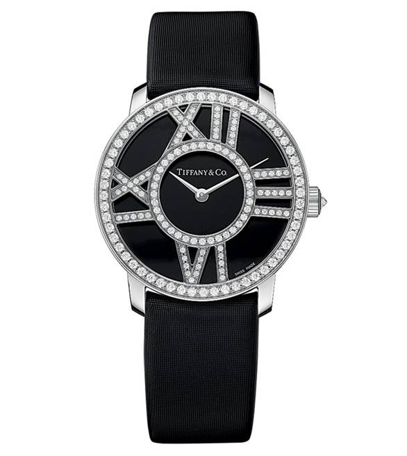 Tiffany & Co. Atlas Cocktail Diamond Watch in black