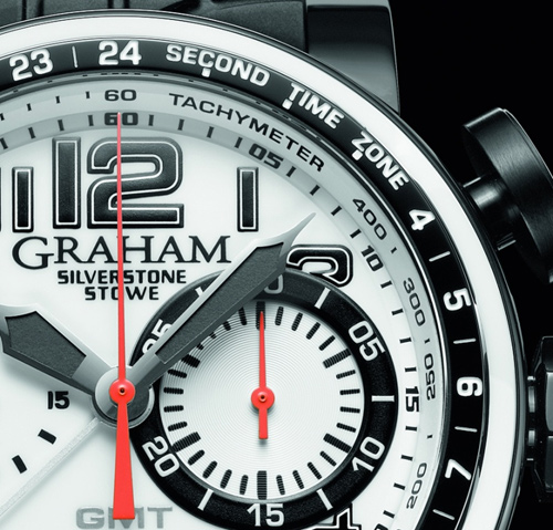 Graham London Black and White Silverstone Stowe GMT - Dial
