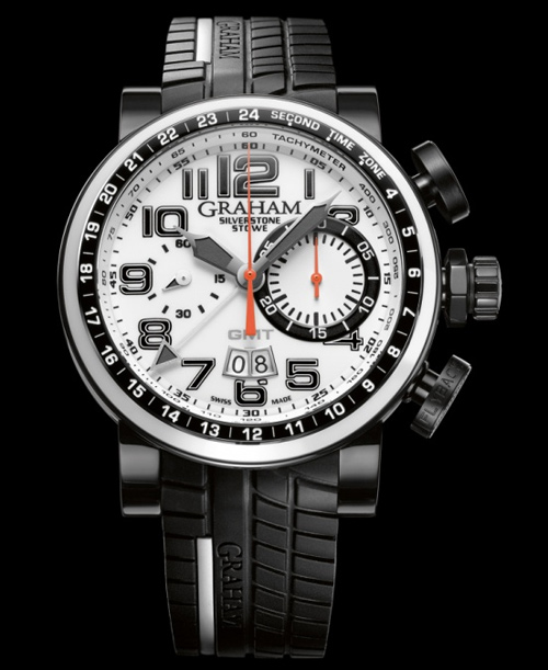 Graham London New Black and White Silverstone Stowe GMT